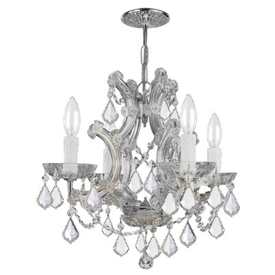 Milan 4-Light Crystal Chandelier Crystal Type/Finish: Swarovski Strass/Chrome