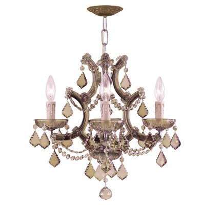 Milan 4-Light Crystal Chandelier Crystal Type: Golden Teak Strass