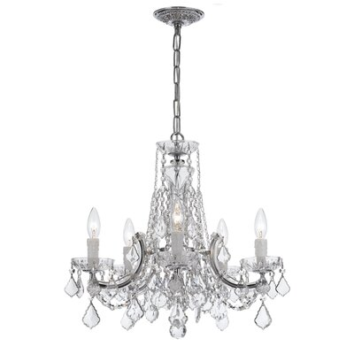 Milan 5-Light Crystal Chandelier Crystal Type/Finish: Swarovski Spectra/Chrome