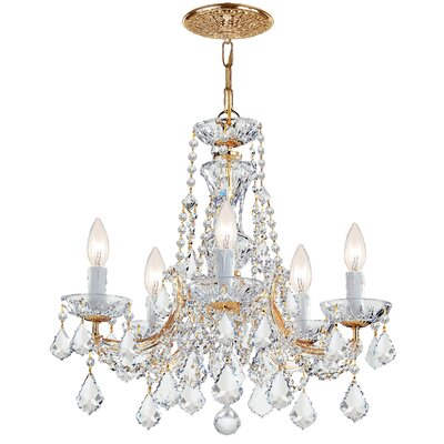 Milan 5-Light Crystal Chandelier Crystal Type/Finish: Majestic Wood Polished/Gold