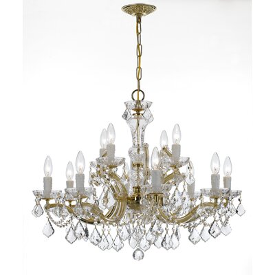Milan 12-Light Crystal Chandelier Crystal Type/Finish: Majestic Wood Polished/Gold