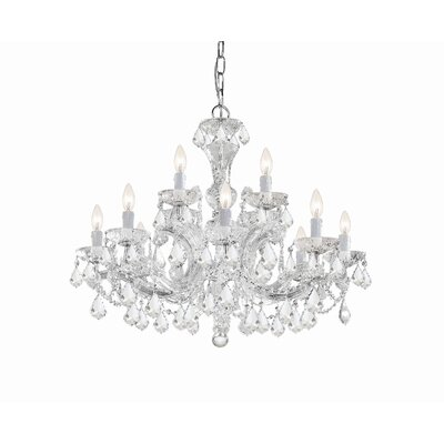 Milan 12-Light Crystal Chandelier Crystal Type/Finish: Majestic Wood Polished/Chrome