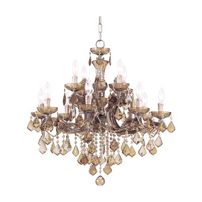 Milan 12-Light Crystal Chandelier Crystal Type: Golden Teak Strass