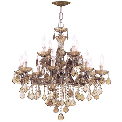 Milan 12-Light Crystal Chandelier Crystal Type: Golden Teak Polished