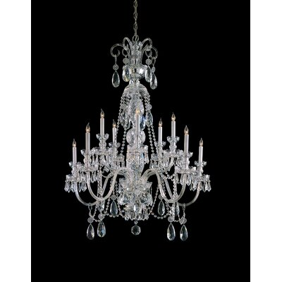 Caledonian 10-Light Crystal Chandelier Crystal Type: Majestic Wood Polished, Finish: Chrome