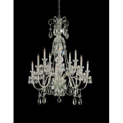 Edison 10-Light Crystal Chandelier Crystal Type: Majestic Wood Polished, Finish: Polished Brass