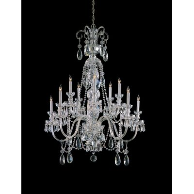 Caledonian 10-Light Crystal Chandelier Crystal Type: Swarovski Spectra, Finish: Polished Brass