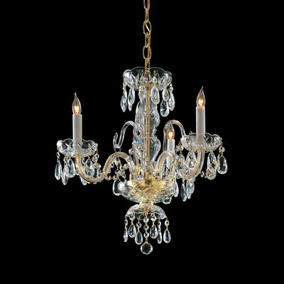 Caledonian 3-Light Crystal Candle Chandelier Crystal Type/Finish: Swarovski Strass/Polished Brass