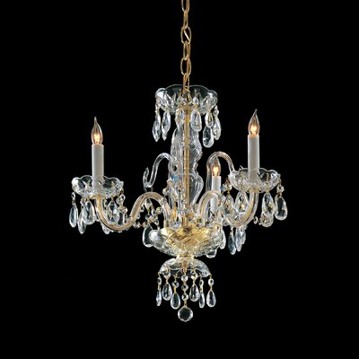 Caledonian 3-Light Crystal Candle Chandelier Crystal Type/Finish: Majestic Wood Polished/Polished Brass