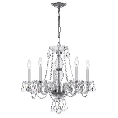 Milan 5-Light Candle-Style Chandelier Crystal Type/Finish: Majestic Wood Polished/Chrome