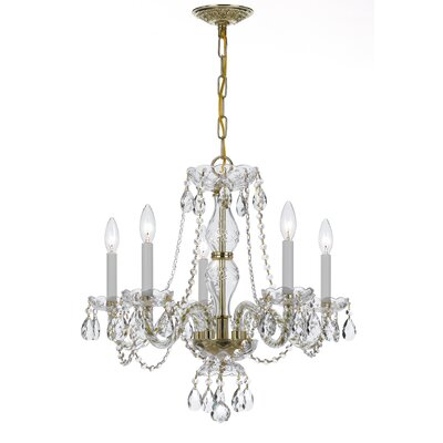 Milan 5-Light Candle-Style Chandelier Crystal Type/Finish: Majestic Wood Polished/Polished Brass