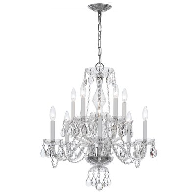 Milan 10-Light Candle-Style Chandelier Crystal Type/Finish: Swarovski Strass/Chrome