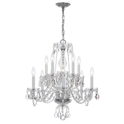 Milan 10-Light Candle-Style Chandelier Crystal Type/Finish: Swarovski Spectra/Chrome