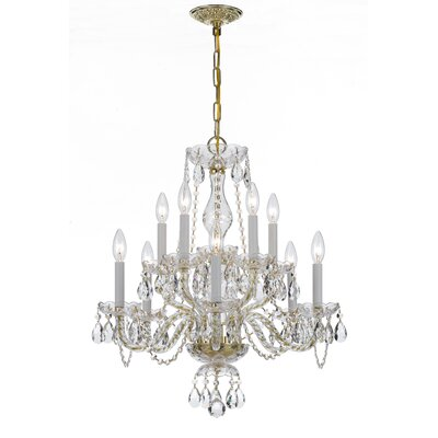 Milan 10-Light Candle-Style Chandelier Crystal Type/Finish: Majestic Wood Polished/Polished Brass