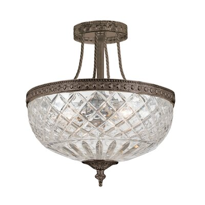 Milan 3-Light Semi Flush Mount Size: 13.5 H x 12 W