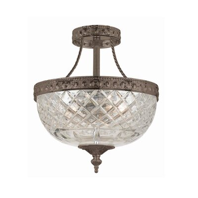 Milan 3-Light Semi Flush Mount Size: 12.5 H x 10 W