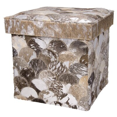 Bezu Cube Leather Ottoman Color: Silver/Gray