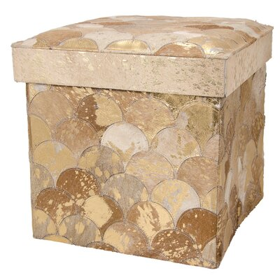Bezu Leather Storage Ottoman Color: Beige/Gold
