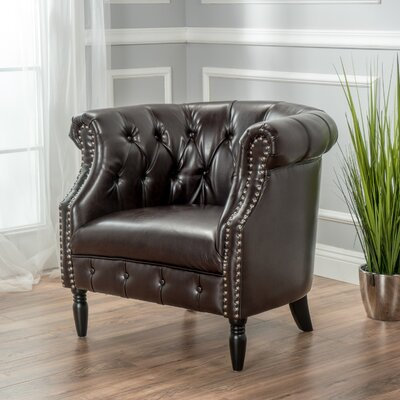 Bourbeau Barrel Chair Color: Dark Brown