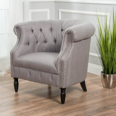 Bourbeau Chesterfield Chair Upholstery: Light Gray