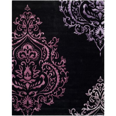 Janson Hand-Tufted Black / Purple Area Rug Rug Size: 5 x 8