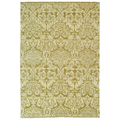 Damask Machine Woven Yellow/Brown Area Rug Rug Size: 4 x 6