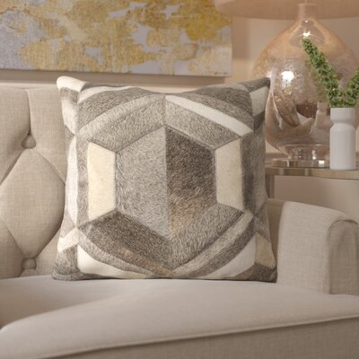 Gertrud Geometric Leather Throw Pillow
