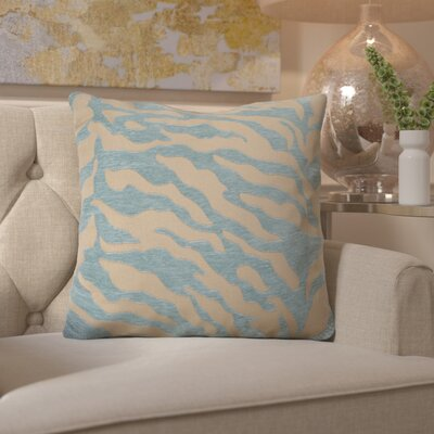 Arrigo Eye-Catching Zebra Throw Pillow Size: 22 H x 22 W x 4 D, Color: Teal / Beige, Filler: Down
