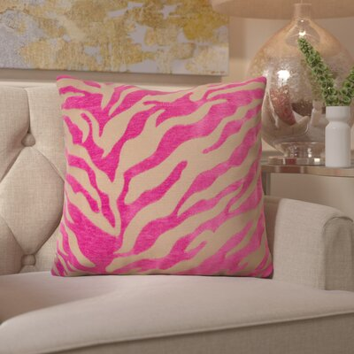 Arrigo Eye-Catching Zebra Throw Pillow Size: 18 H x 18 W x 4 D, Color: Fuchsia / Beige, Filler: Polyester