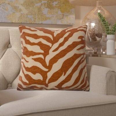 Arrigo Eye-Catching Zebra Throw Pillow Size: 22 H x 22 W x 4 D, Color: Rust / Beige, Filler: Polyester