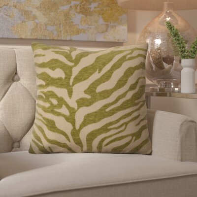 Coen Eye-Catching Zebra Throw Pillow Size: 22 H x 22 W x 4 D, Color: Green / Beige, Filler: Down