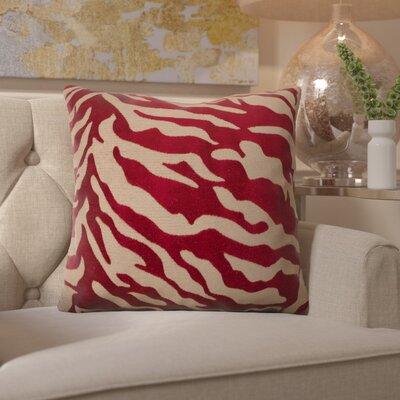 Coen Eye-Catching Zebra Throw Pillow Color: Red / Beige, Size: 22