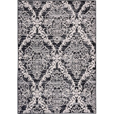 Simone Sunshine Circles Black/White Area Rug Rug Size: 53 x 73