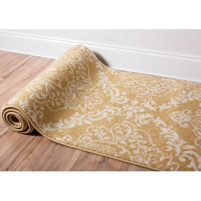 Newquay Magnolia Gold/Ivory Area Rug Rug Size: Oval 27 x 42