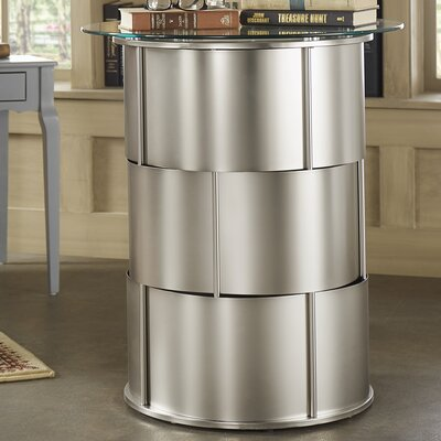 Cliburn Drum Base Glass Top Console Table