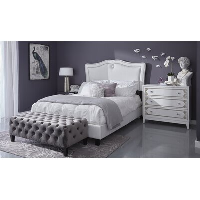 Fabian Sweetheart Shaped Upholstered Panel Bed Upholstery: Glitz Crystal