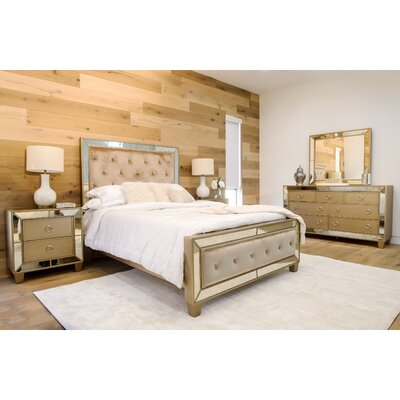Alasdair Mirrored Tufted Platform 5 Piece Bedroom Set Size: King