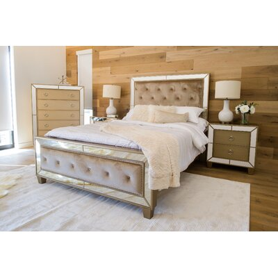 Alasdair Mirrored Tufted Platform 4 Piece Bedroom Set Size: King