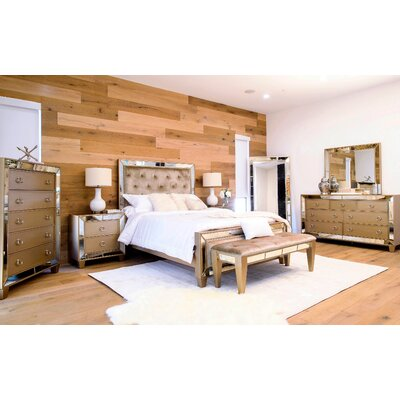 Alasdair Mirrored Tufted Platform 8 Piece Bedroom Set Size: California King