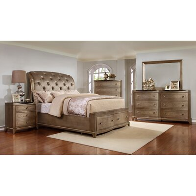 Alcalde Upholstered Storage Sleigh Bed Size: King