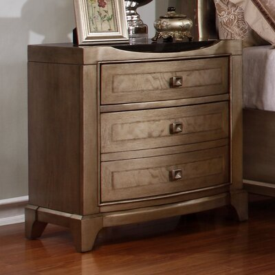 Alcalde 3 Drawer Black Top Nightstand