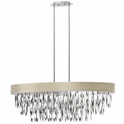 Edmon 8-Light Steel Kitchen Island Pendant Shade Color: Pebble