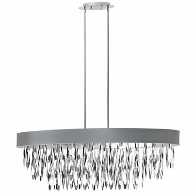 Edmon 8-Light Steel Kitchen Island Pendant Shade Color: Silver