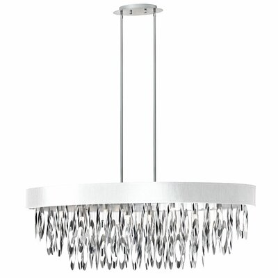 Edmon 8-Light Steel Kitchen Island Pendant Shade Color: White
