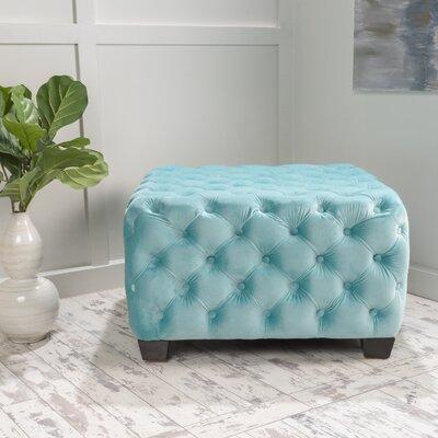 Crane Tufted Velvet Ottoman Upholstery: Aqua Green