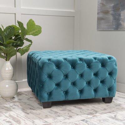 Crane Tufted Velvet Ottoman Upholstery: Dark Teal