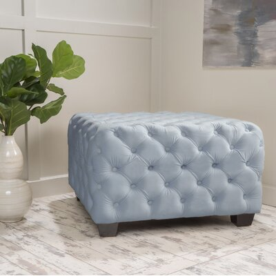 Crane Tufted Velvet Ottoman Upholstery: Light Gray