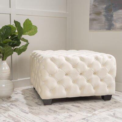 Crane Tufted Velvet Ottoman Upholstery: Ivory