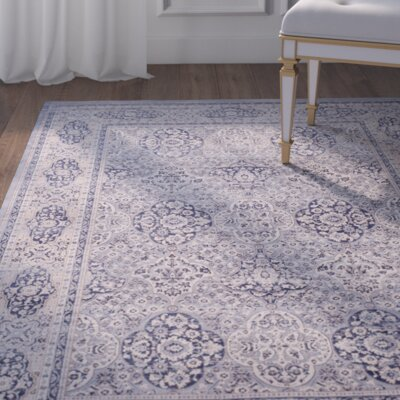 Laplaigne Blue / Ivory Area Rug Rug Size: Square 67