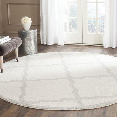 Maritza Geometric Beige/Light Grey Area Rug Rug Size: Round 5